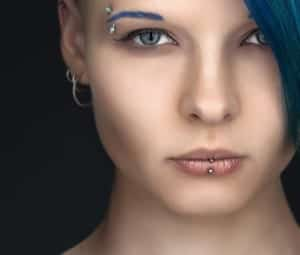 woman with facial piercings